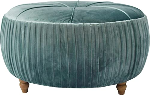 New Pacific Direct Helena Velvet Round Ottoman Ottomans Cubes