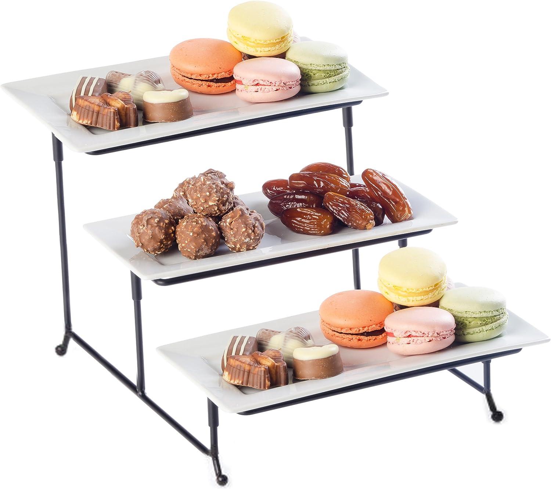 Rectangular Metal Serving Plates Platters for Snacks Cupcake Appetizer Display