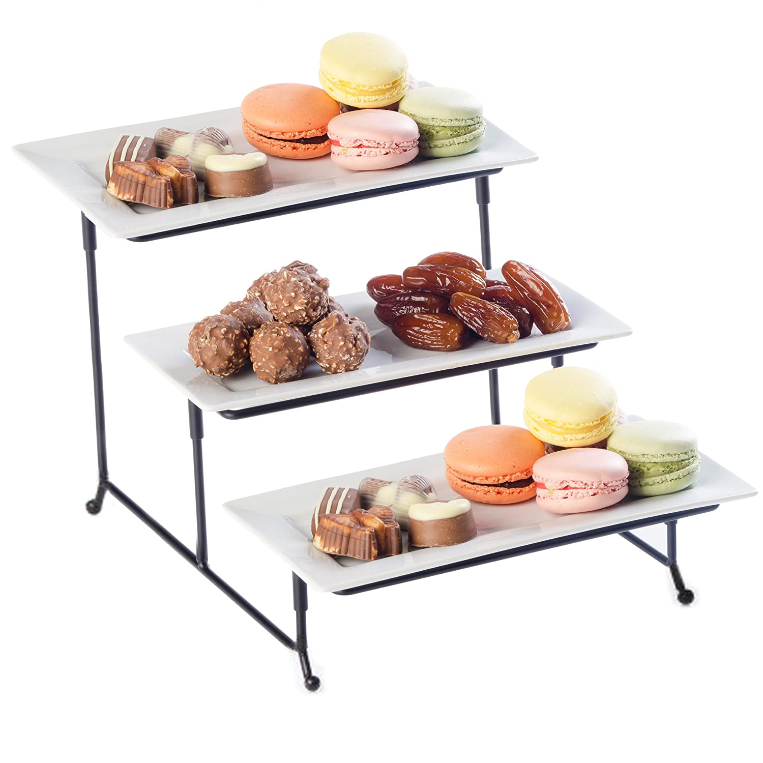 Food Serving Tray Set 3 Tier Metal Display Stand With Three White Rectangular Dishes Platters Wire Footed Steel Rack For Salad Bowls Fruit Cake Cookies Collapsible Classy Serveware for Parties Hosting Perlli P-3T-SP