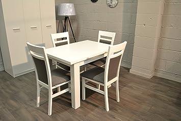 Superieur Heze Ltd Lot De Blanc Enroulement Table De Salle à Manger Et 4 Chaises En  Bois