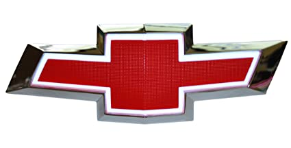 Illuminated Light Up LED Front Grille Bowtie Textured Emblem (Red, White) Fits 2010-15 Chevy Camaro