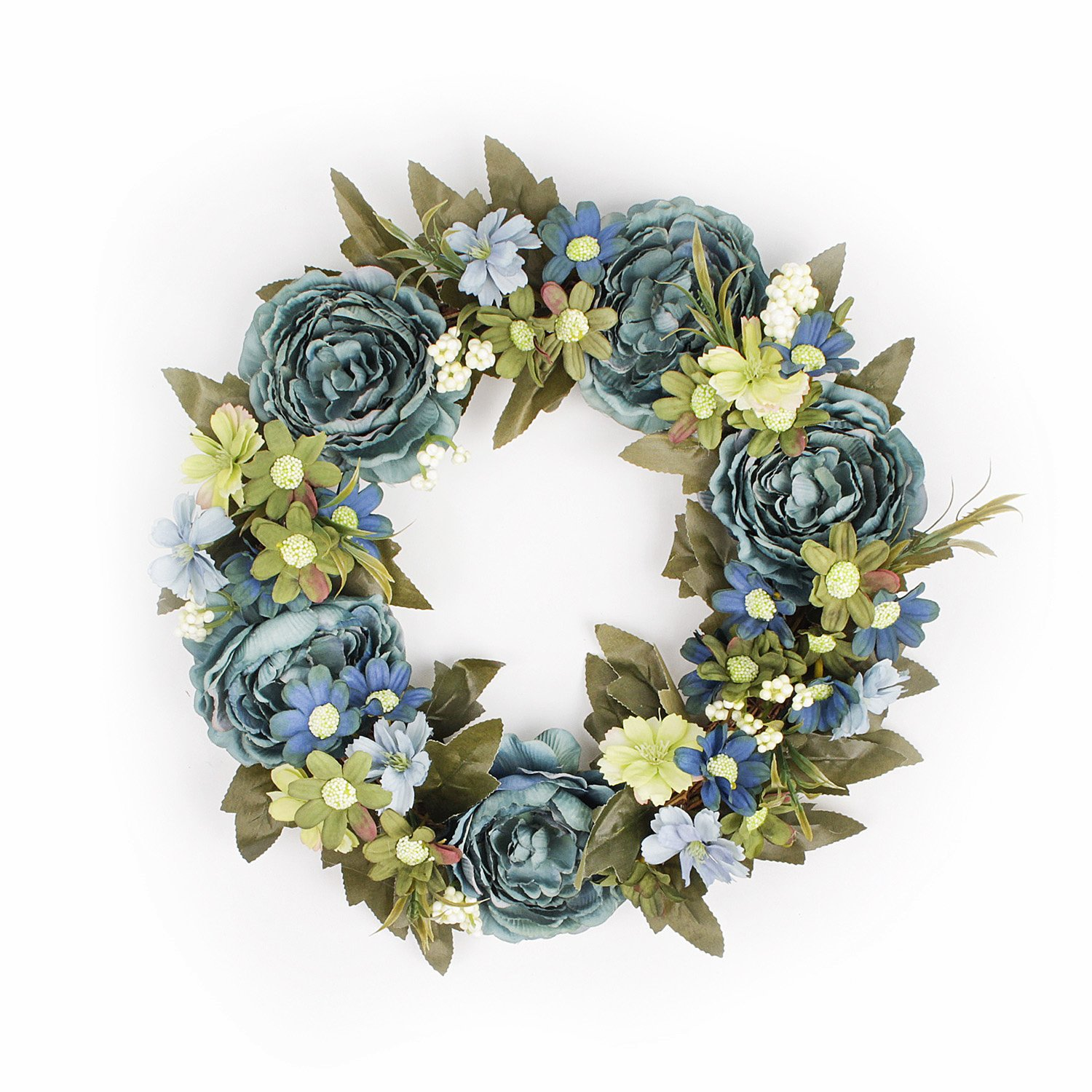 FAVOWREATH 2018 Vintage Series FAVO-W38 Handmade 12/14 inch Blue Peony,Daisy,Wild Flower Grapevine Wreath Summer/Fall Season Festival Front Door/Wall/Fireplace Floral Hanger Home Decor (12 inch)