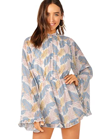 4378bd6438 Romwe Women's Floral Printed Ruffle Bell Sleeve Loose Fit Jumpsuit Rompers  Blue X-Small
