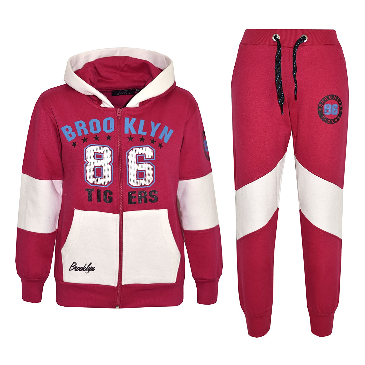 A2Z 4 Kids® Kids Girls Tracksuit Brooklyn 86 Tigers Print Hoodie & Bottom Jog Suit New Age 7 8 9 10 11 12 13 Years
