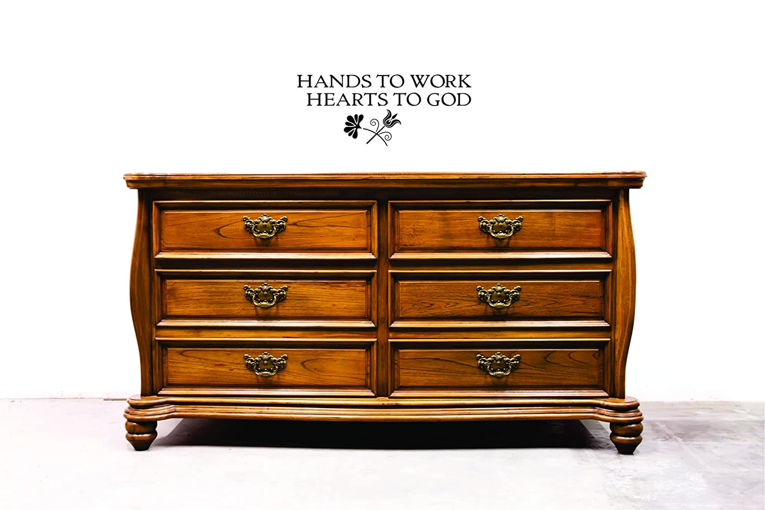 Design with Vinyl JER 2326 3 Hot New Decals Hands to work hearts to God Wall Art Size Black 20 x 40 20 Inches x 40 Inches Color
