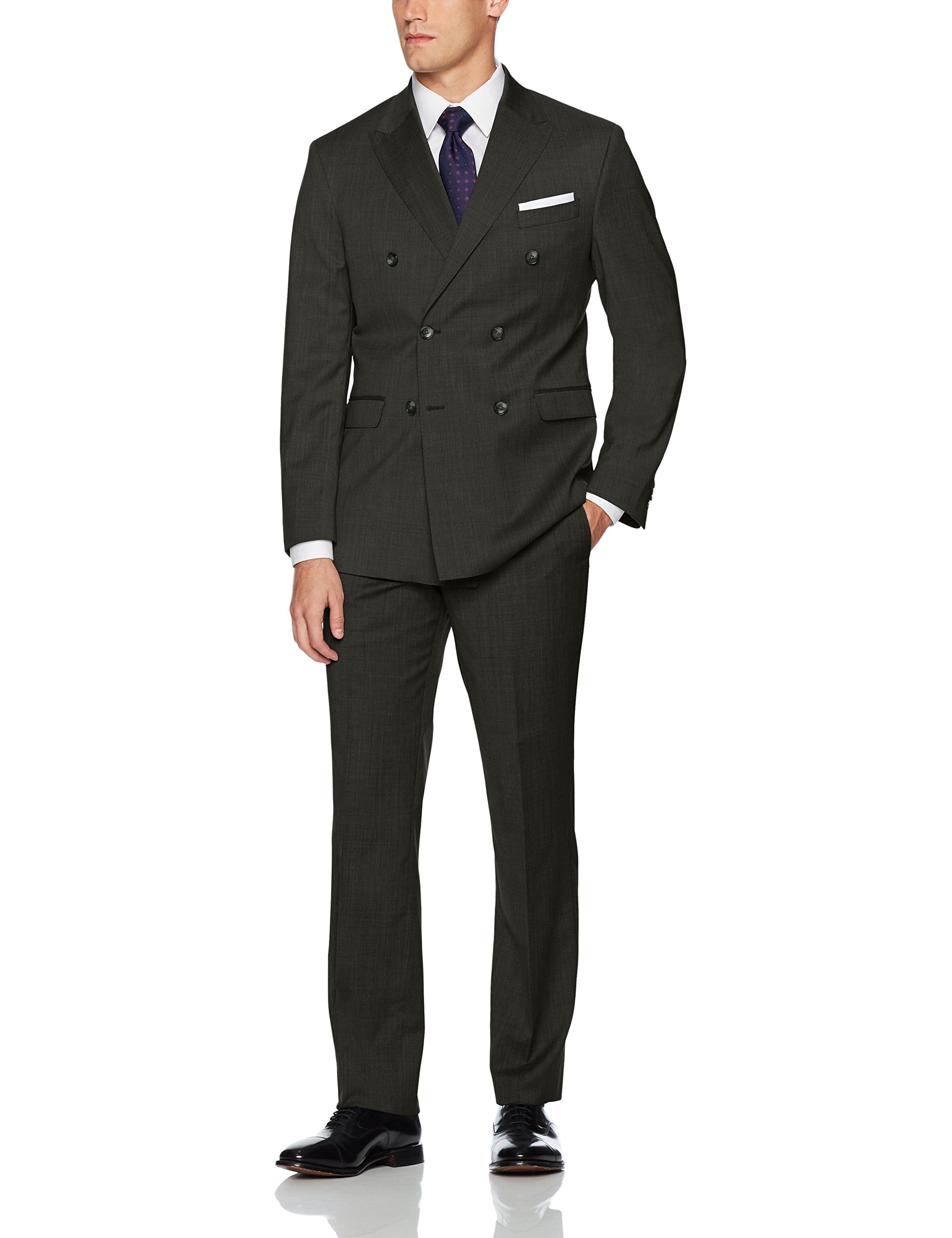 Kenneth Cole New York Men's Double Breasted Modern Fit 6 Button Suit, Charcoal Grey, 44 Regular