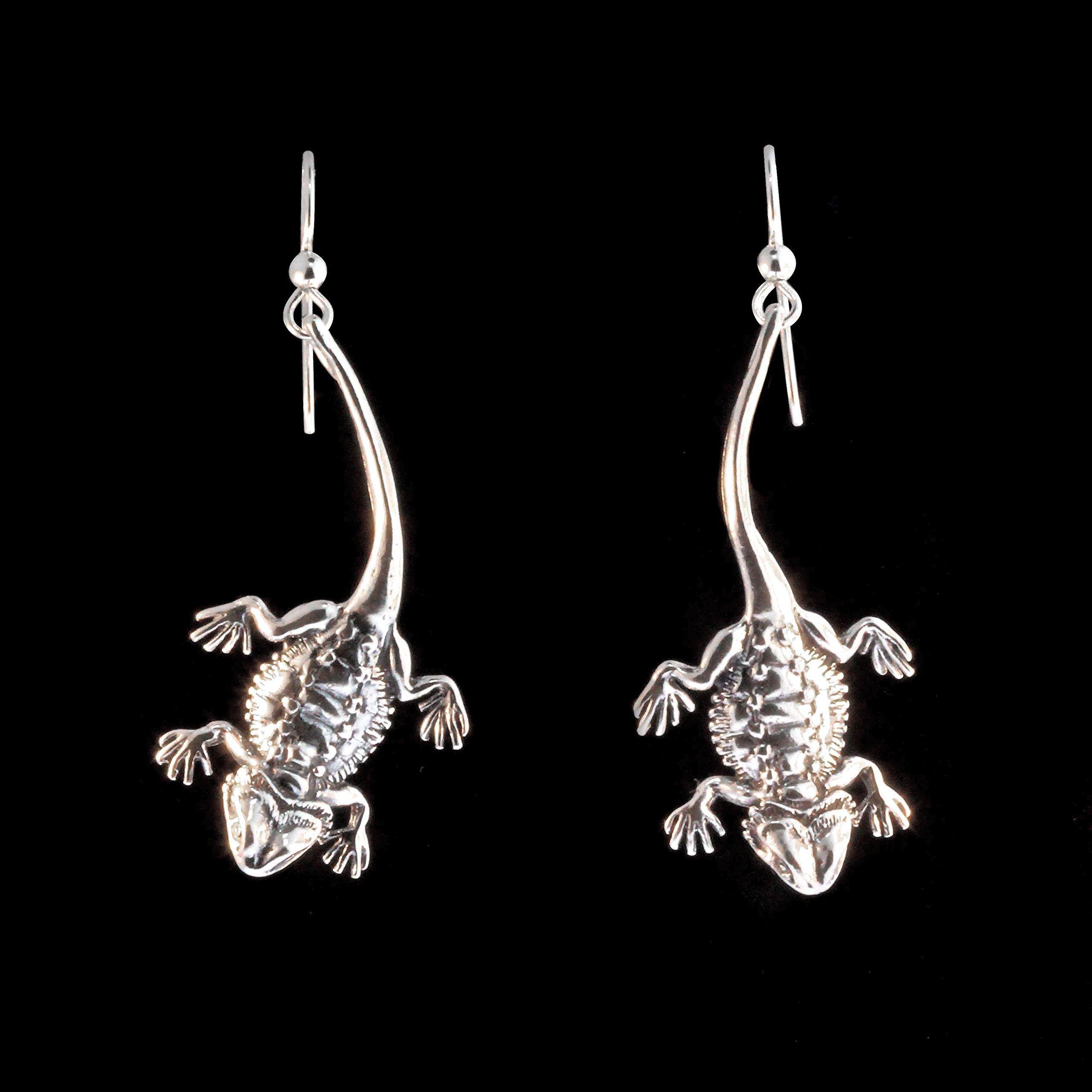 Bearded Dragon Earrings Silver Bearded Dragon Charm Lizard Charm Lizard Earrings Lizard Jewelry Reptile Jewelry