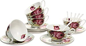 ufengke 7oz Flora Coffee Cup Set,Porcelain Cappuccino Cups with Saucers and Spoon,Set of 6 Ceramic Tea Cup and Saucer Set-Red