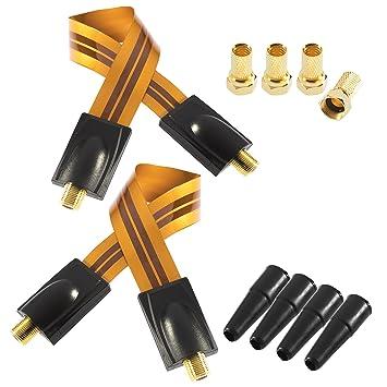 Poppstar 2 Cables Cable de alimentación de Ventana Naranjas, Muy Planos (0,1