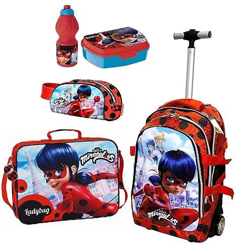 cc83db6faf Ladybug Miraculous set Zaino Trolley Scuola Astuccio Borsa 24ore Box Colazione  Ragazza Bambina MARINETTE