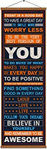 WEROUTE Inspirational Motivational Print Poster Positive Be Awesome Success Quotes Canvas Painting Office Home Gift with Scroll Hanger Frame 14x40 inch