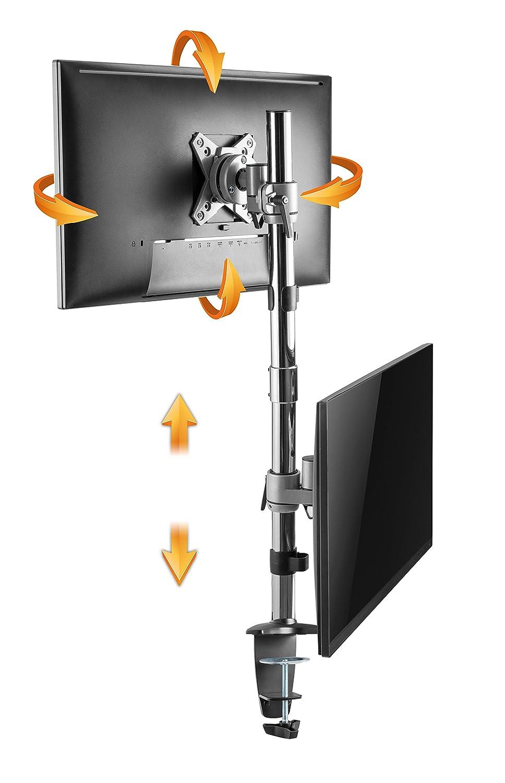 RICOO Supporto per 2 Monitor da Tavolo TS3511 Staffa per televisore Piatto inclinabile Girevole Smart 4K Curvo 3D QLED OLED LED LCD televisori Doppio Braccio Television VESA 75x75 100x100 Universale