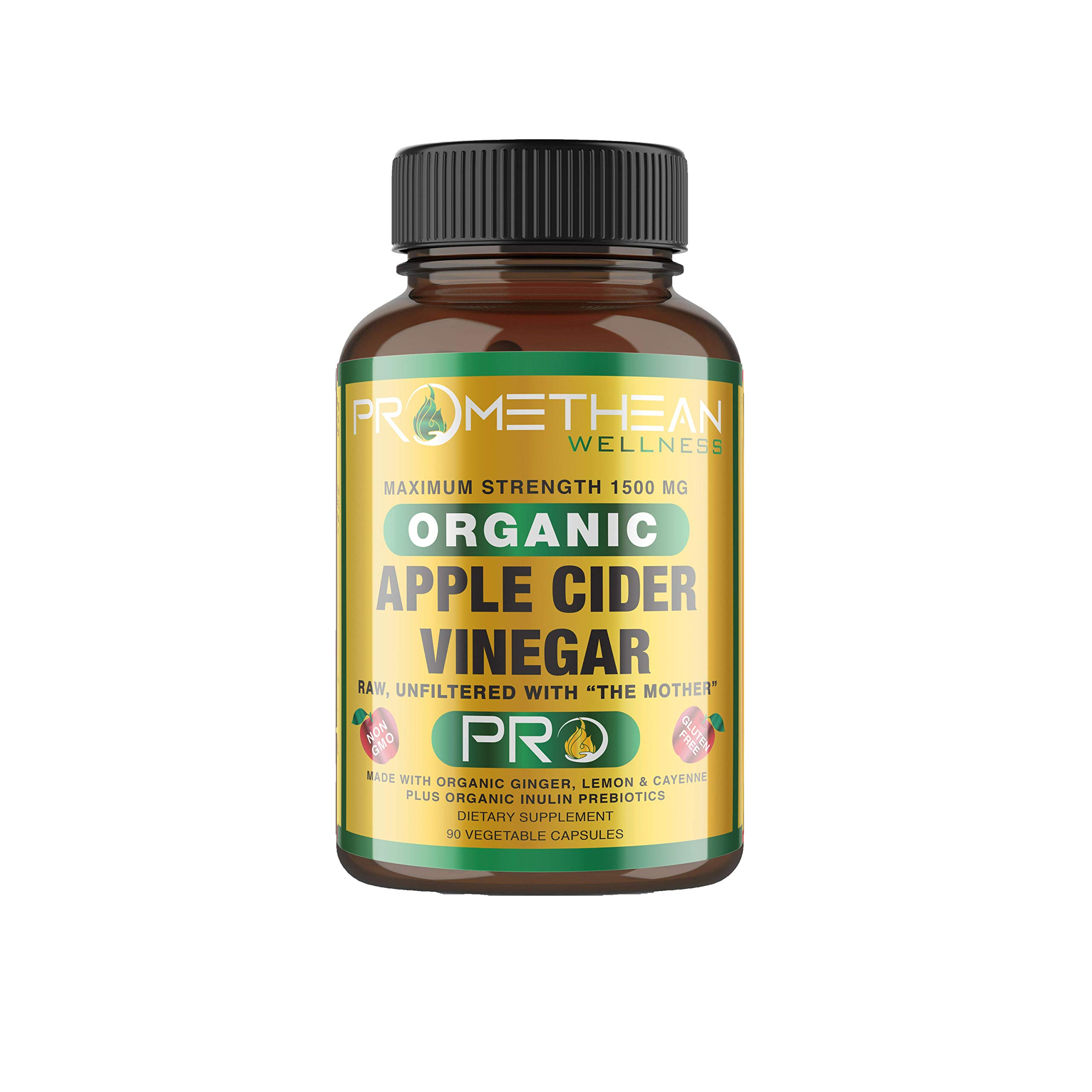 Organic Apple Cider Vinegar Capsules ACV Pro Diet Pills Detox Cleanse for Weight Loss Raw Unfiltered with Mother Powder Supplements Tablets Cayenne Ginger Inulin Fiber Prebiotics Lemon 1500mg 90ct by Promethean Wellness LLC
