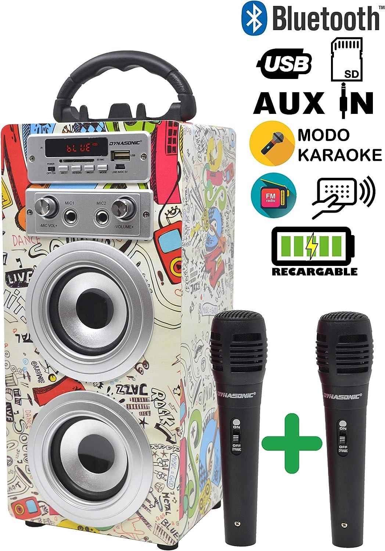 DYNASONIC - Altavoz Bluetooth Portatil Karaoke con 2 Micrófonos Incluidos | Lector USB y SD, Radio FM Modelo 025 (Modelo 2, 2 Micrófonos)