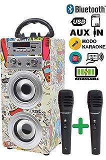 DYNASONIC - Altavoz Bluetooth Portatil Karaoke con 2 Micrófonos