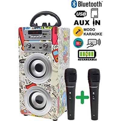 DYNASONIC - Altavoz Bluetooth Portatil Karaoke con Micrófonos Incluidos   Lector USB y SD, Radio FM Modelo 025 (2 Micrófonos)