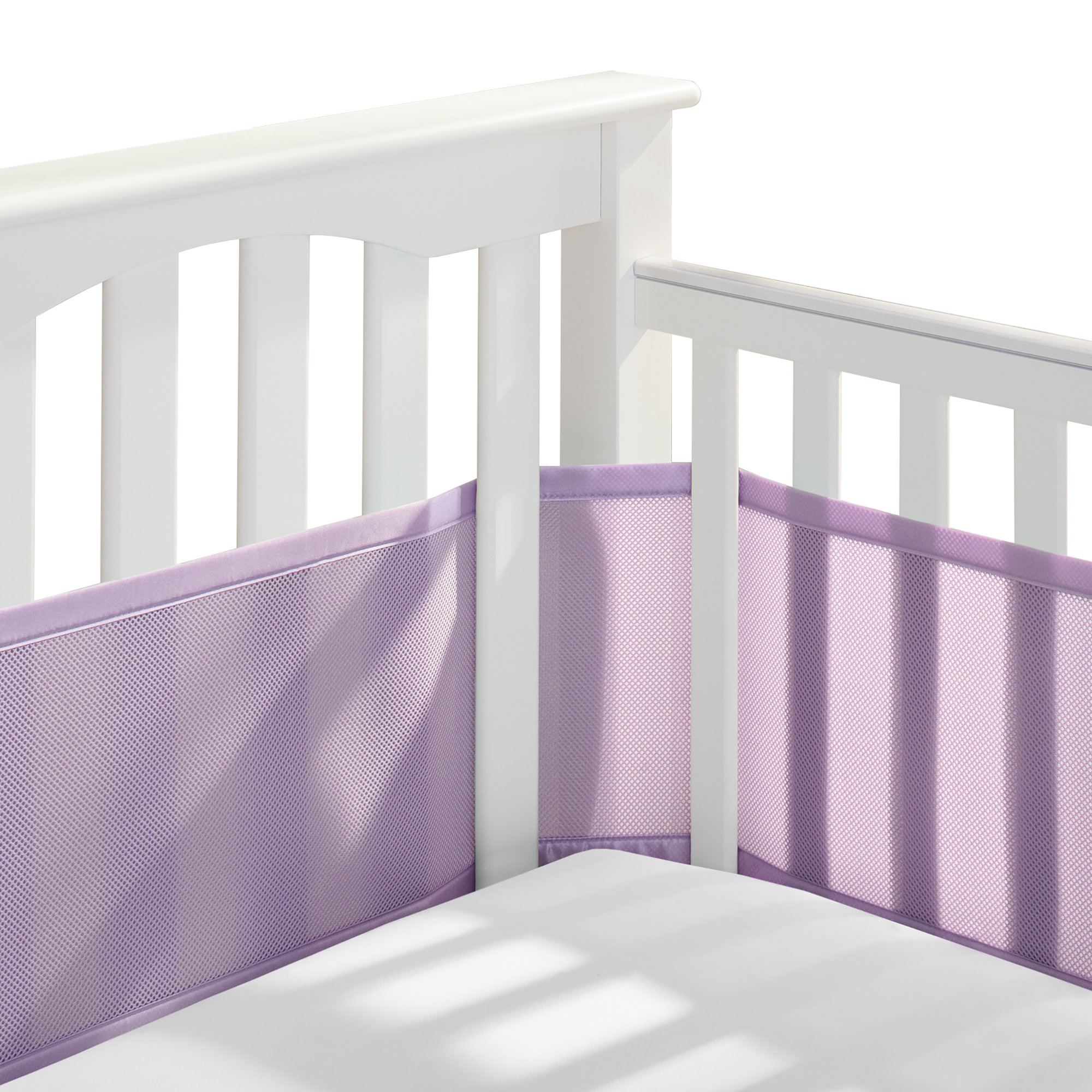BreathableBaby | Breathable Mesh Crib Liner | Patented Design | Doctor Endorsed | Helps Prevent Arms and Legs from Getting Stuck Between Crib Slats | Independently Tested for Safety | Lavender