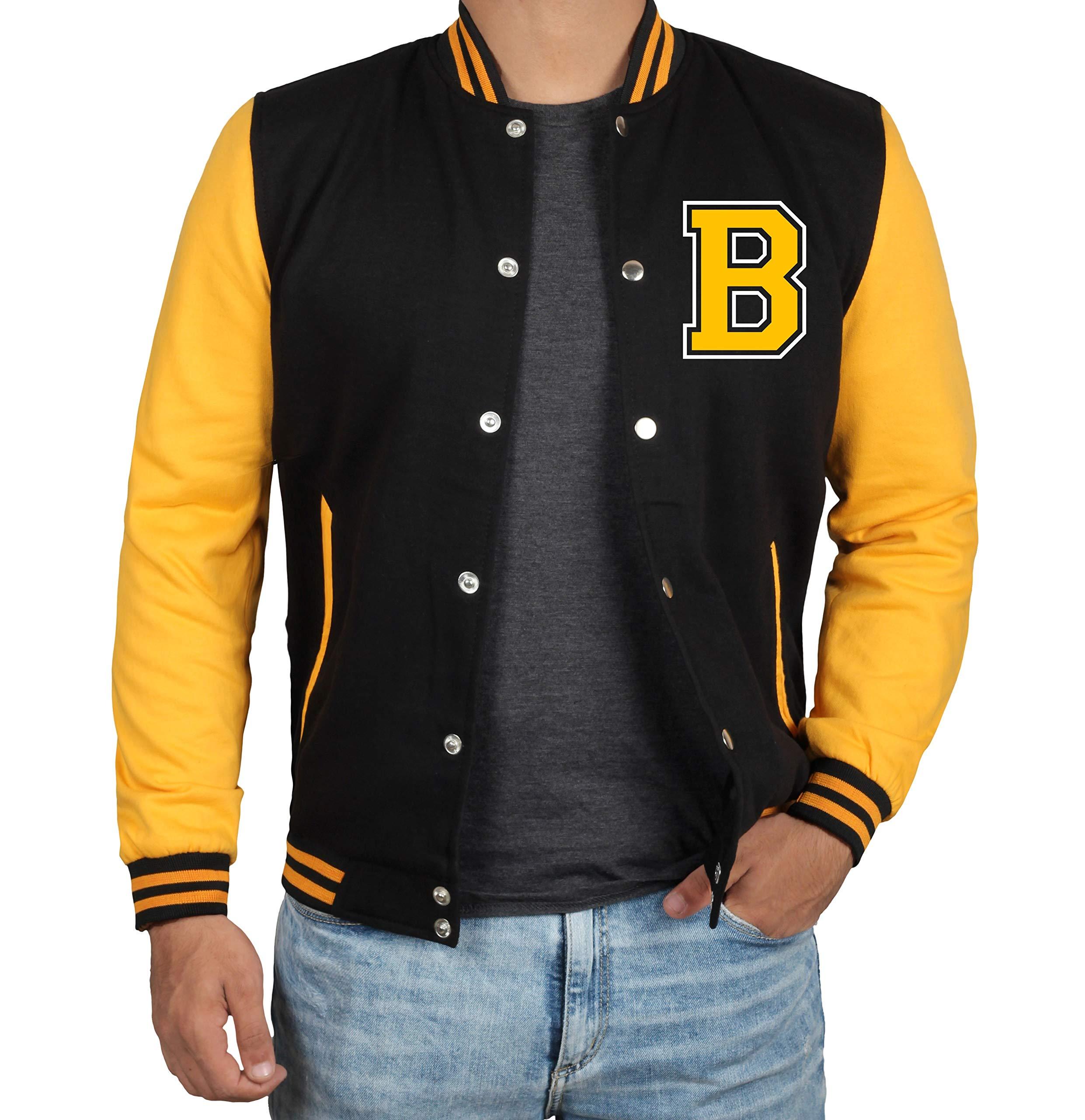 Mens Varsity Jacket - High School Football Jacket | B Yellow Sleeve | M by Decrum
