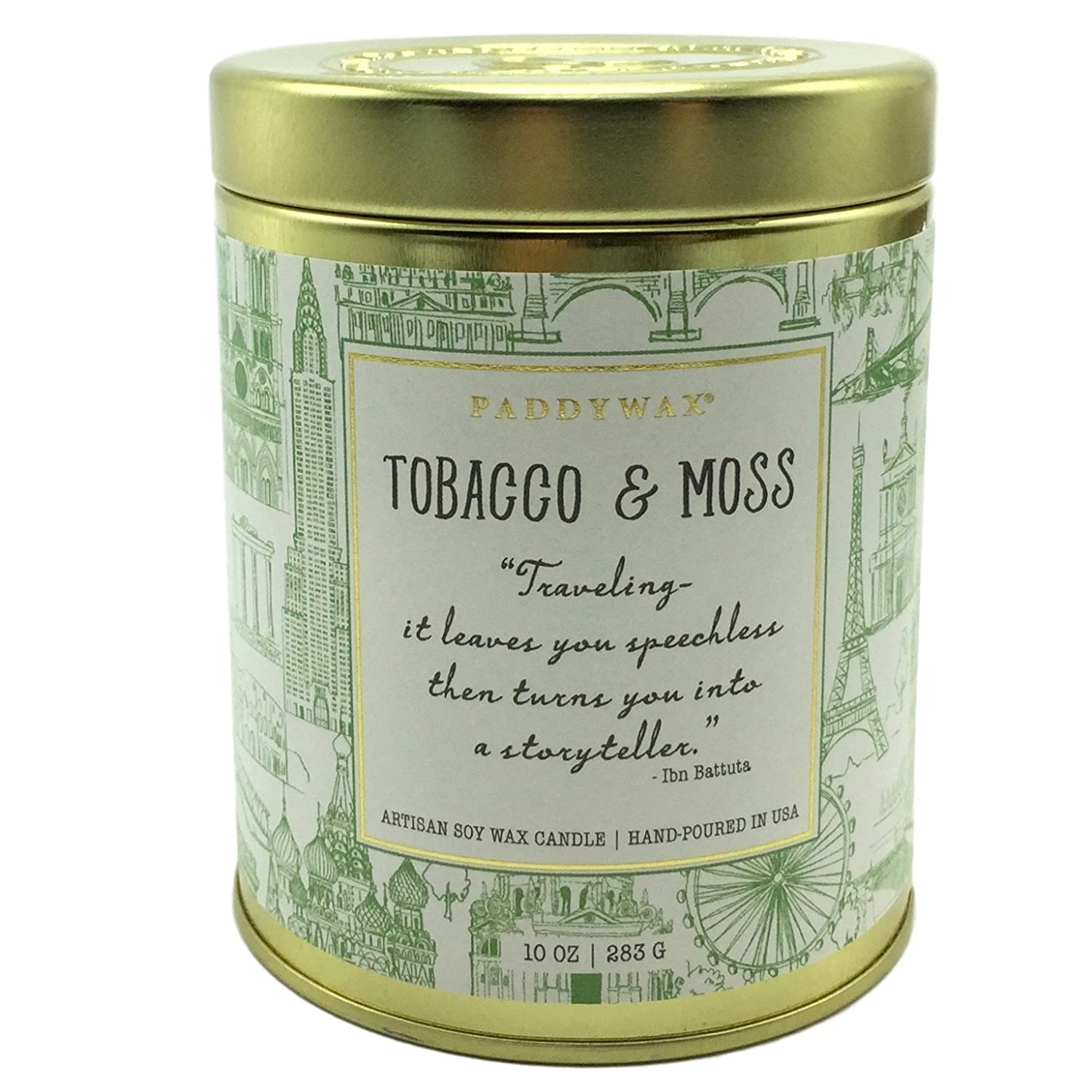 Paddywax Tobacco & Moss Soy Wax Candle In Decorative Tin Depicting Landmarks from Around The World