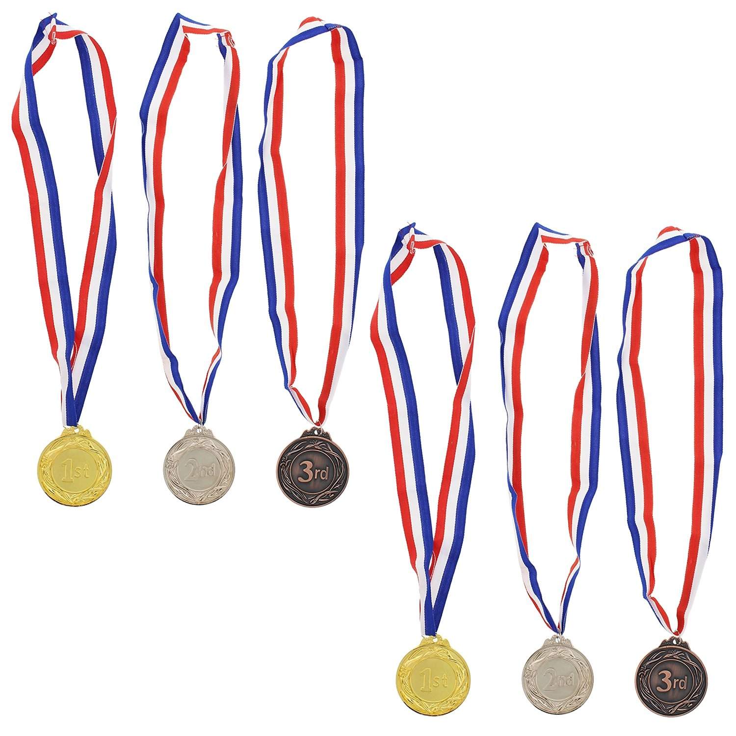 Juvale Gold Silver Bronze Award Medals - Olympic Style Awards for Contests, Games, Shows, Competitions - 6 Pc Set