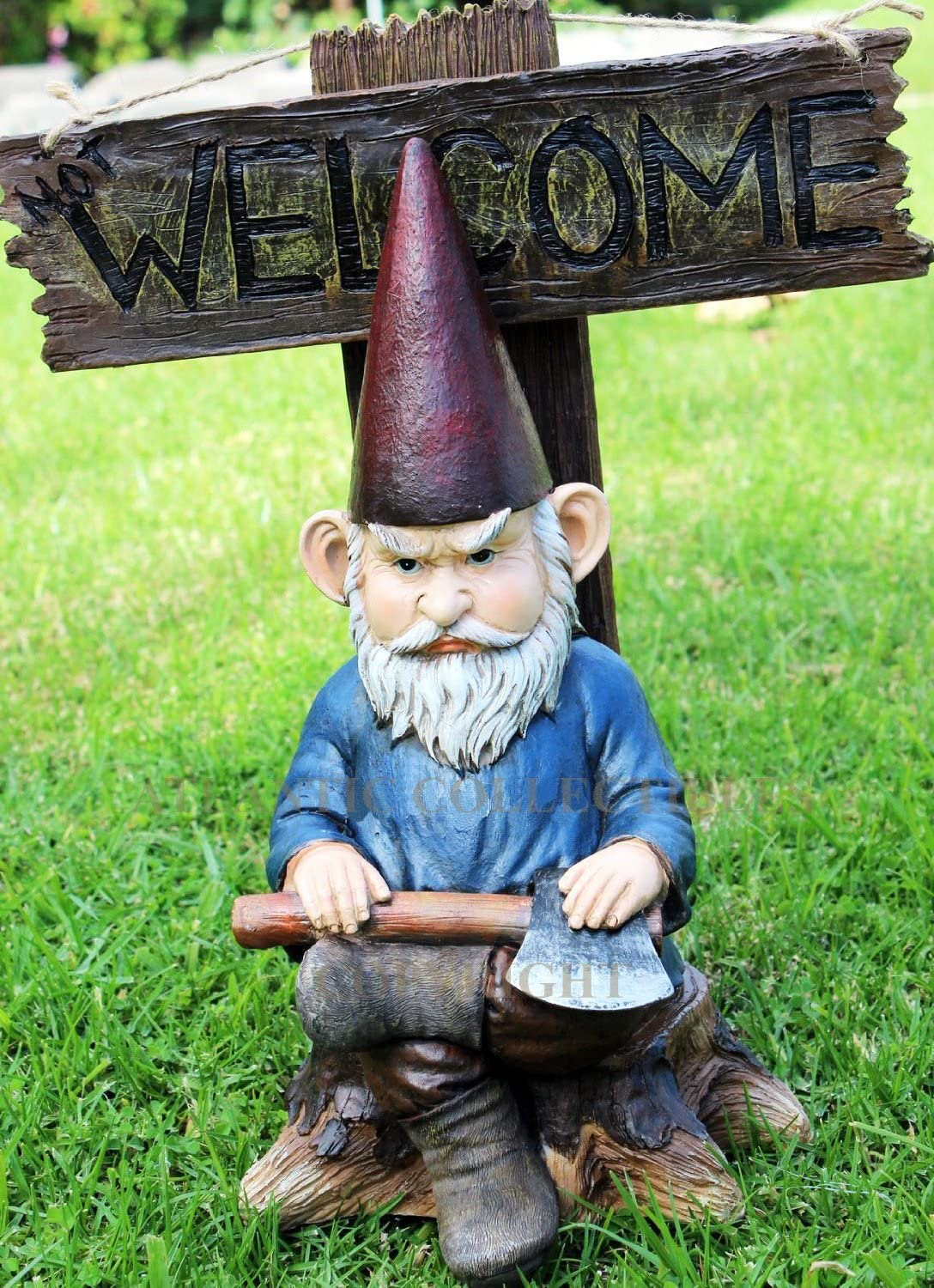 Atlantic Collectibles Cozy Whimsical Garden Grumpy Grinchy Gnome Dwarf Not Welcome Statue Patio Outdoor Poolside Figurine As Magical Guest Greeter Decorative