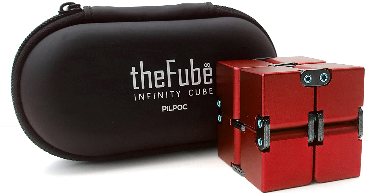 PILPOC theFube Infinity Cube Fidget Cube Desk Toy - Premium Quality Aluminum Infinite Magic Cube with Exclusive Case, Sturdy, Heavy, Relieve Stress and Anxiety, for ADD, ADHD, OCD (Blue) FULY TECH