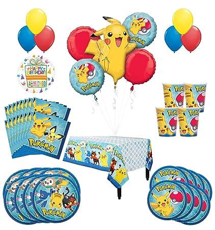 Amazon.com: Pokemon fiesta de cumpleaños suministros y 16 ...