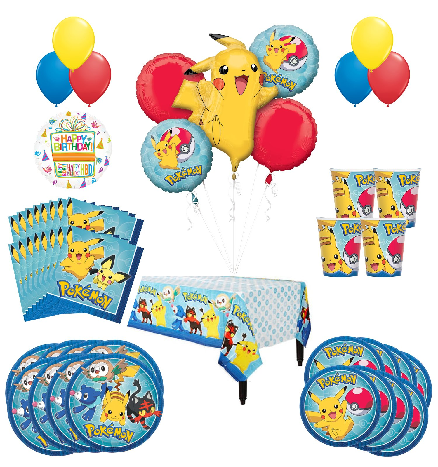 Mayflower Products Pikachu Birthday Party Supplies and 16 Guest 94pc Balloon Decoration Kit