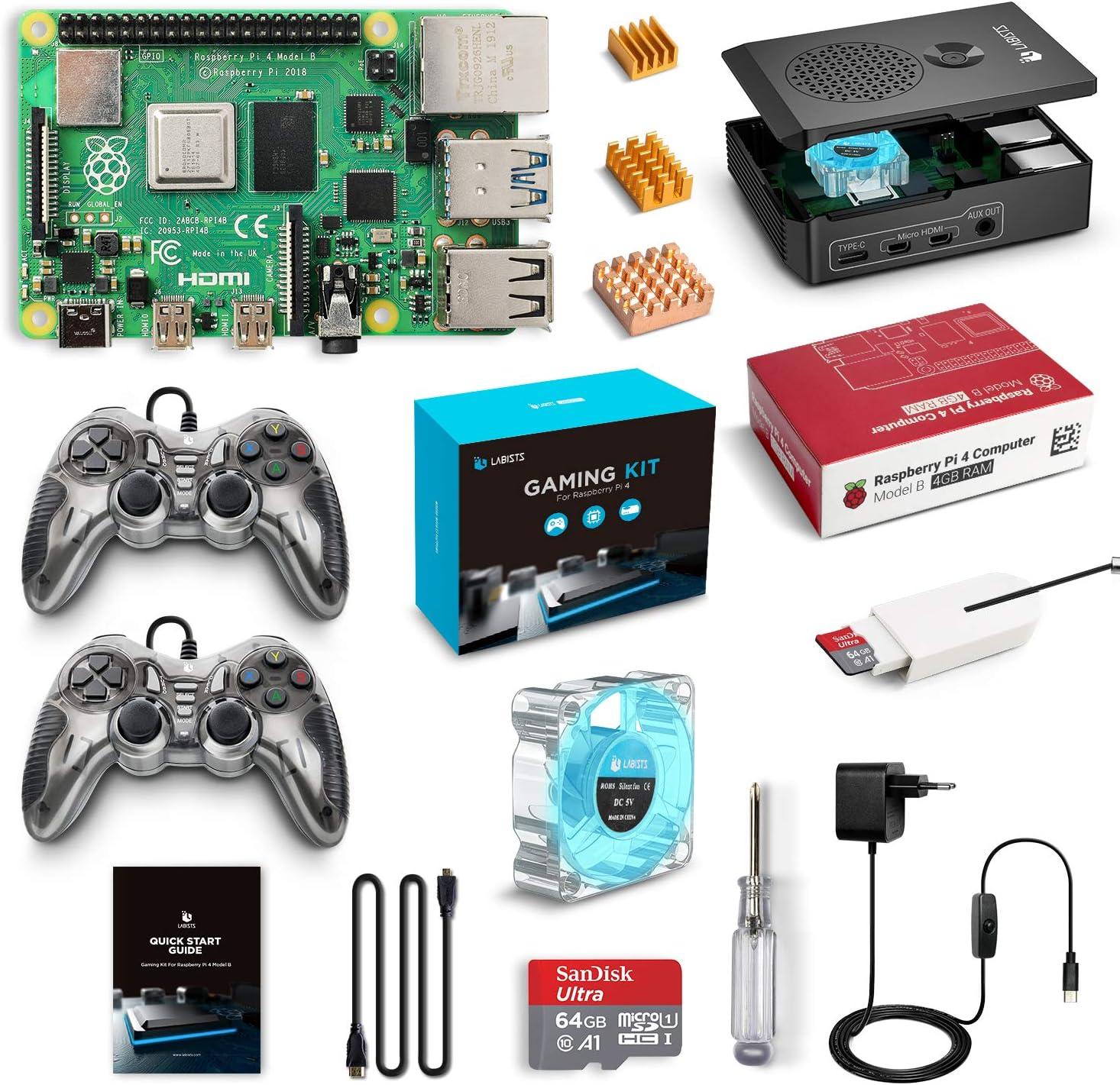 LABISTS Raspberry Pi 4 Gaming Kit avec 2 Manettes de Jeu, 64 Go Carte Micro SD Classe 10, Boîtier Noir, 5,1V 3A Alimentation Interrupteur Marche/Arrêt, Ventilateur, 3 Dissipateurs, Câble Micro HDMI