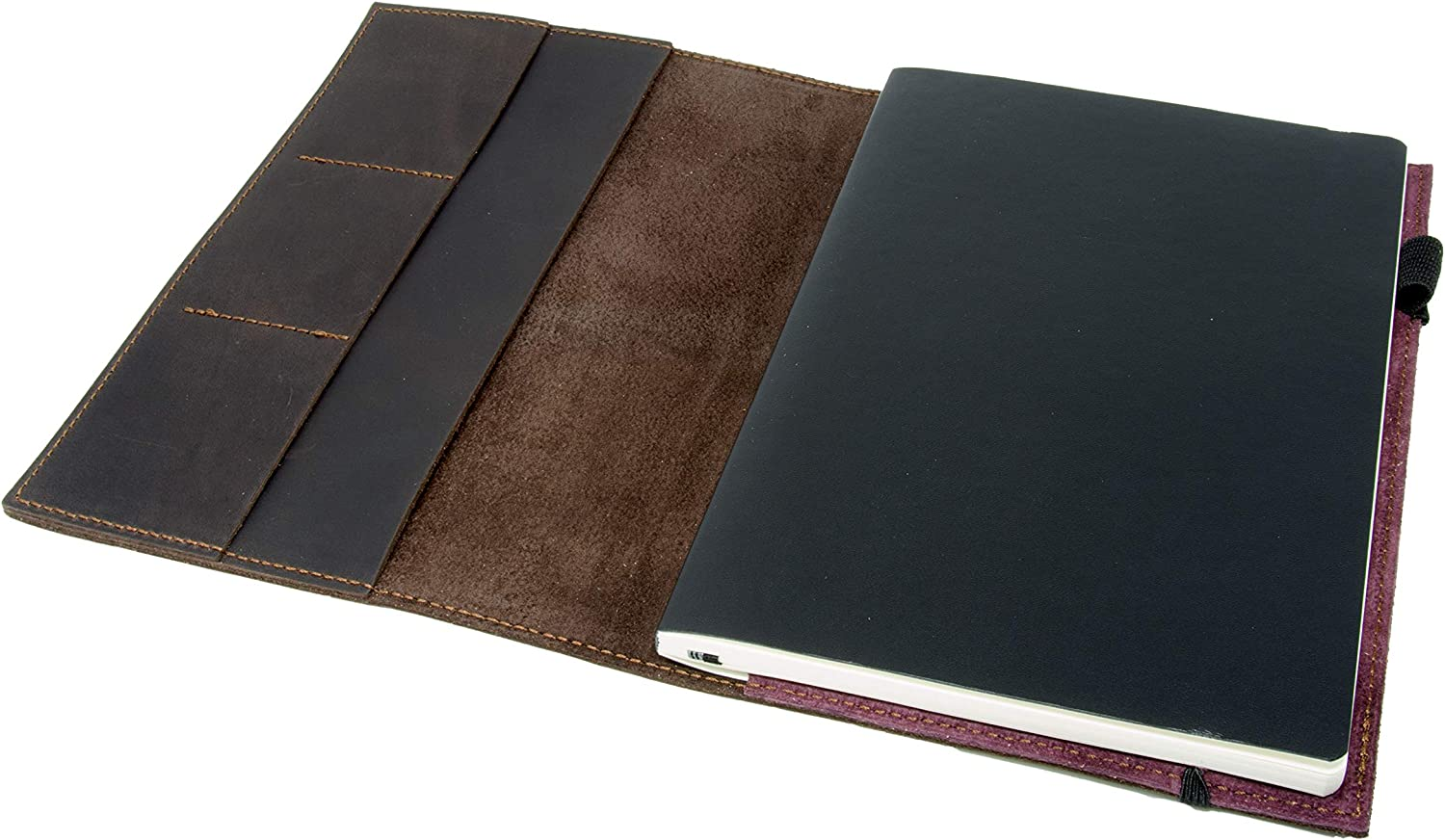 """Leather Journal Leuchtturm1917 Medium A5 (5.75""""x8.25"""") Softcover Notebook Travel Journal Cover Distressed Leather Refillable Writing Diary with Elastic Closure (Brown Nut Case)"""