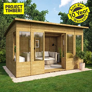 Project Timber 12 X 8 Curved Roof Verano Wooden Garden Summerhouse