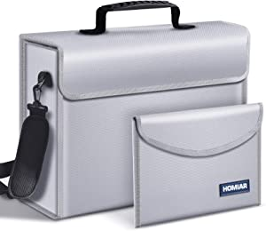 """Fireproof Document Bags,Extra Large (17""""x12""""x6"""") Fireproof Safe Bag,(10.7""""x 6.6"""") Money Pouch Envelope,Water Resistant File Storage Box,Non-Itchy Fire Safe Bag with Zipper for Money,Legal Documents"""