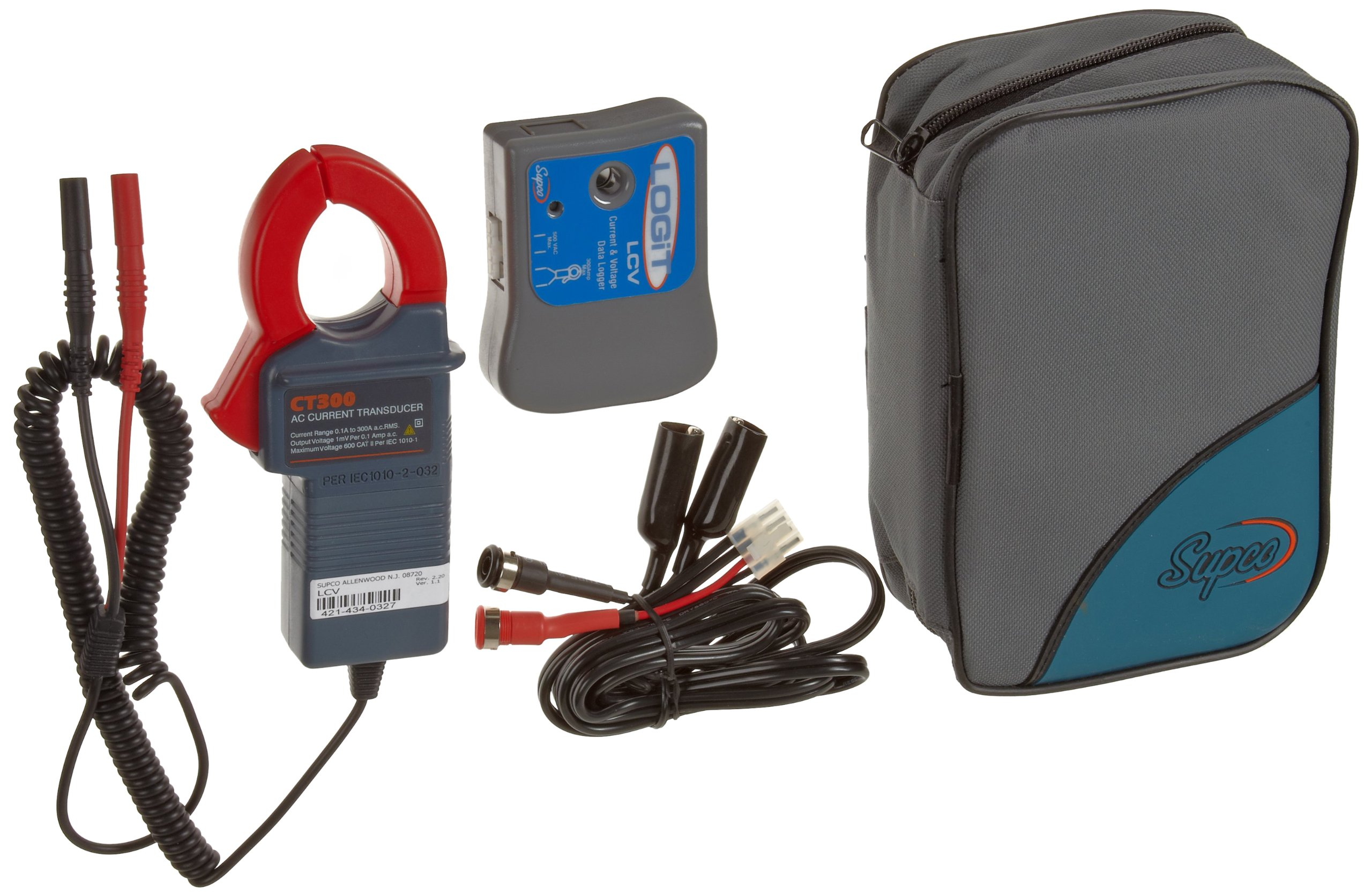 Supco LCV LOGiT Current and Voltage Data Logger, 3'' Length x 2-1/2'' Width x 1-3/32'' Height