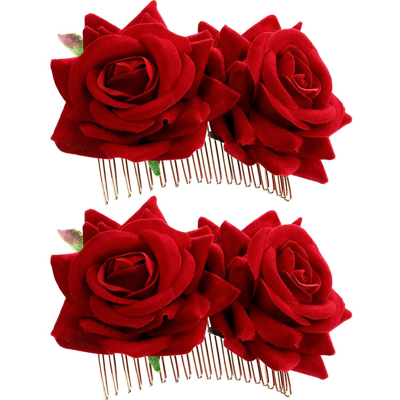 2 Pack Rose Flower Hair Clip Women Rose Flower Hair Accessories Wedding Hair Clip Flamenco Dancer (Dark Red) Bememo