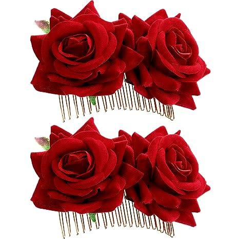 2 Pieces Rose Pince A Cheveux Fleur Femmes Rose Fleur Accessoires De