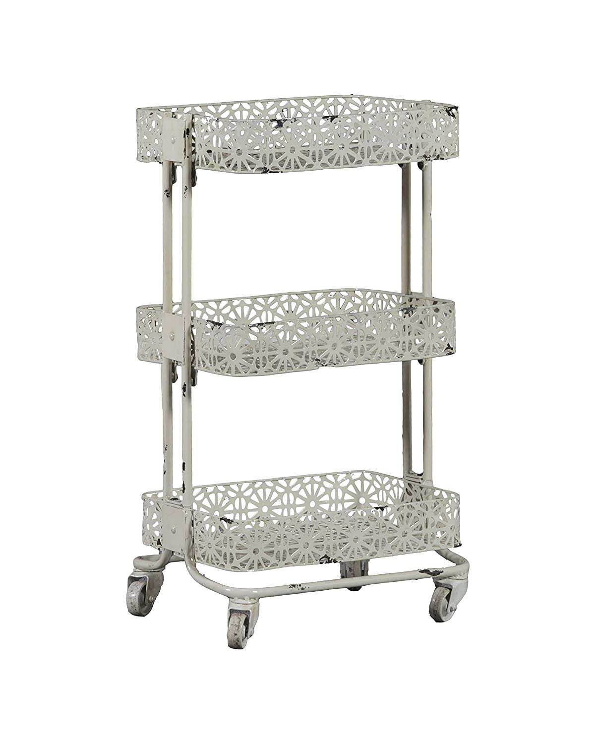 Linon 3-Tier Cart Metal, Turquoise Linon Home AMME3TIERT1