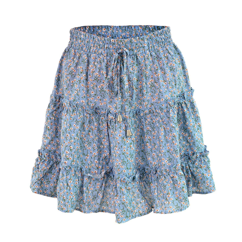 Nanomi Belleza Mujer Verano Boho Floral Ruffle Mini Falda Cintura ...