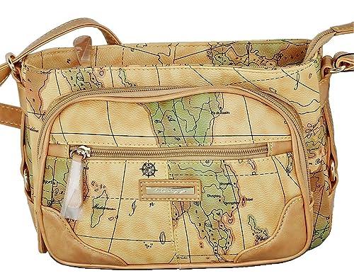 5515d2371ebf Amazon.co.jp: O-voyage 世界地図柄 レディース 横型 ショルダー バッグ ...
