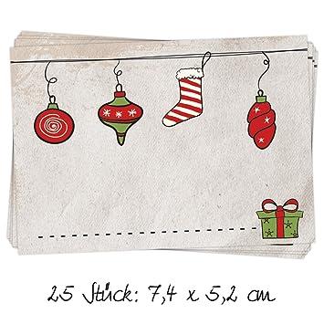 Etiketten Frohe Weihnachten.25 Stück Aufkleber Etikett Frohe Weihnachten Geschenkaufkleber Rot Natur Grün 7 X 5 Cm Namensschilder Namensaufkleber Geschenke Verpackung