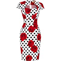 GRACE KARIN Vintage Floral Cocktail Dress Cap Sleeve Retro Vintage Pencil Dress