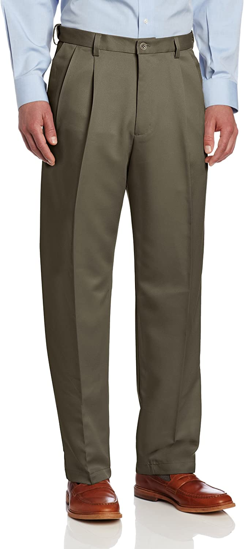 Haggar Mens Big /& Tall Cool 18 Gabardine Hidden Expandable-Waist Pleat-Front Pant