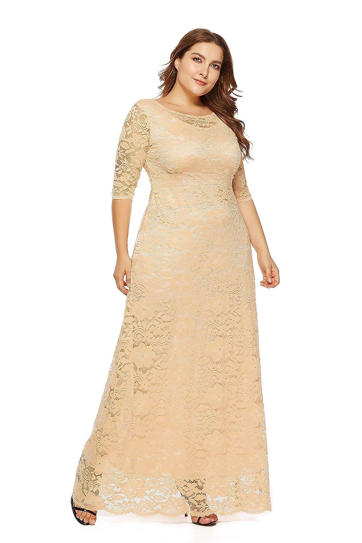 Women Plus Size Maxi Long Lace Dress 6 Colors Size XL-6XL