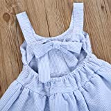 Cenhope Infant Baby Girls Striped Bowknot Blackless