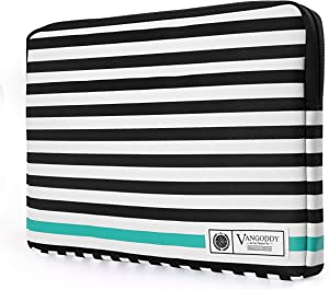 Vangoddy Luxe B Series Black White Stripe 15.6 Inch Padded Zipper Sleeve for Dell Inspiron 15 3000 5000 7000, Latitude, Precision, XPS 15 Series 15.6 inch Laptop