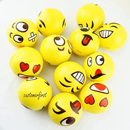 Set of 12 Emoji Face Yellow Foam Soft Stress Novelty Toy Balls 3 inches