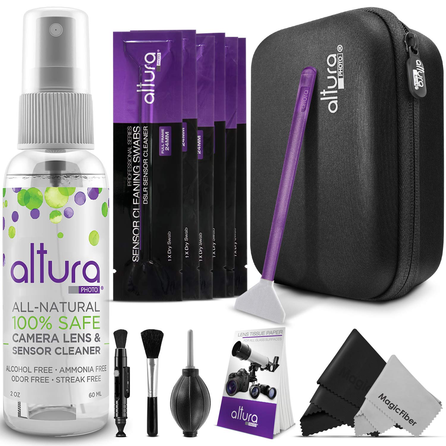 Altura Photo Professional Full Frame Sensor Cleaning Kit - Camera Cleaning Kit for FF DSLR & Mirrorless Cameras - w/Sensor Cleaning Swabs & Case, Works as Camera Lens Cleaning Kit, Sensor Cleaner