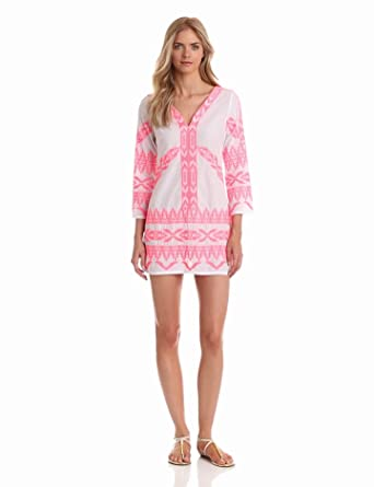 Yoana Baraschi Women's Prairie Tunic Embroidered Dress, White/Neon Coral, Small