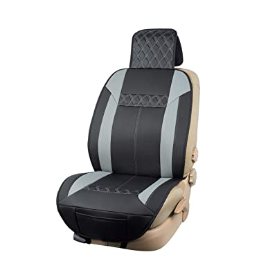 Basics Deluxe Sideless Universal Fit Leatherette Seat Cover, Black with Gray Diamond Pattern: Automotive