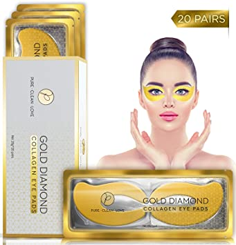 2632670c824 Amazon.com: (20 Pairs) Under Eye Mask Collagen Eye Patches 24k Gold ...