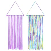 Hestya 2 Pieces Hair Bow Holders 30 Inch Long Hair Clips Hanger Storage Organizer for Baby Girls(Purple and White, Multicolored Purple)